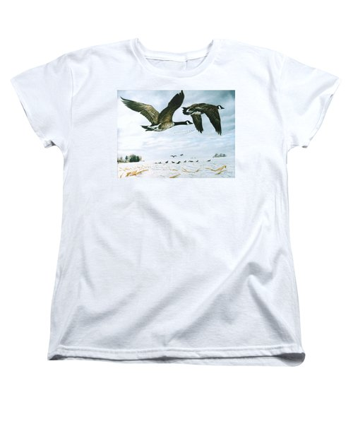 Women's T-Shirt (Standard Cut) featuring the painting Welcome Home by Craig T Burgwardt