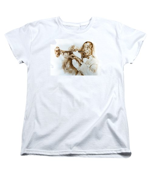Women's T-Shirt (Standard Cut) featuring the painting When You're Smilling by Laur Iduc