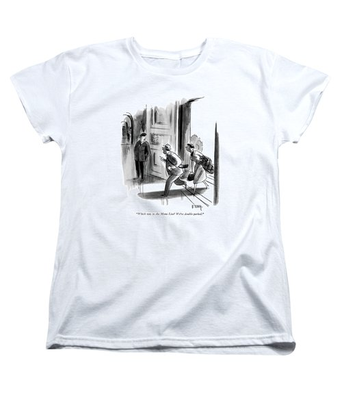 Which Way To The Mona Lisa? We're Double-parked Women's T-Shirt (Standard Cut) by Barney Tobey