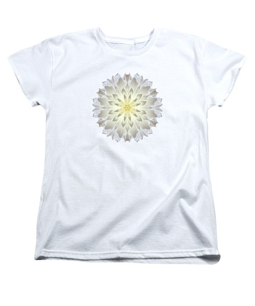 Giant White Dahlia I Flower Mandala White Women's T-Shirt (Standard Cut) by David J Bookbinder
