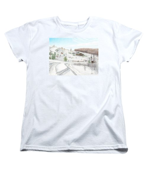 Women's T-Shirt (Standard Cut) featuring the painting White Mountain Resort by Albert Puskaric