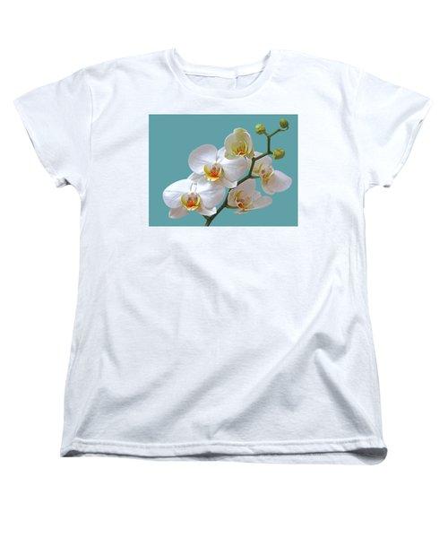 White Orchids On Ocean Blue Women's T-Shirt (Standard Cut) by Gill Billington