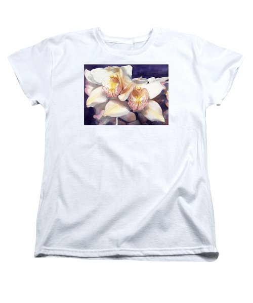 White Orchids Watercolor Women's T-Shirt (Standard Cut) by Greta Corens