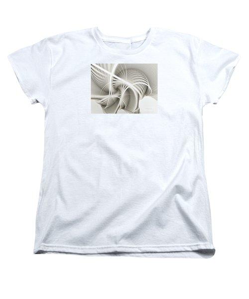 White Ribbons Spiral Women's T-Shirt (Standard Cut) by Karin Kuhlmann