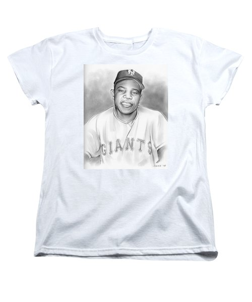 Willie Mays Women's T-Shirt (Standard Cut) by Greg Joens