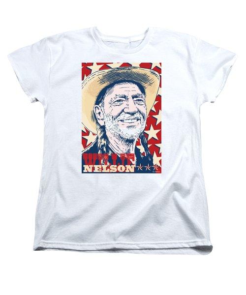 Willie Nelson Pop Art Women's T-Shirt (Standard Cut) by Jim Zahniser
