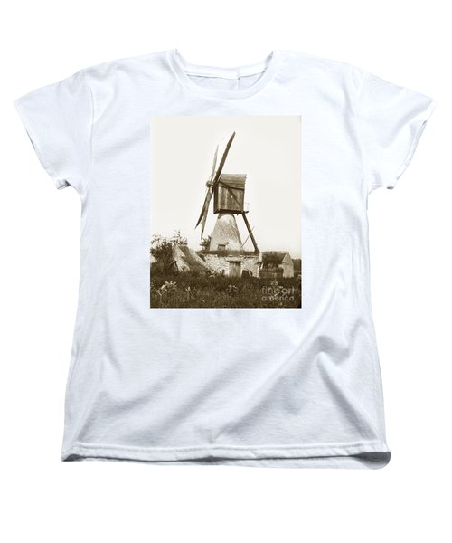 Women's T-Shirt (Standard Cut) featuring the photograph Wind Mill In France 1900 Historical Photo by California Views Mr Pat Hathaway Archives