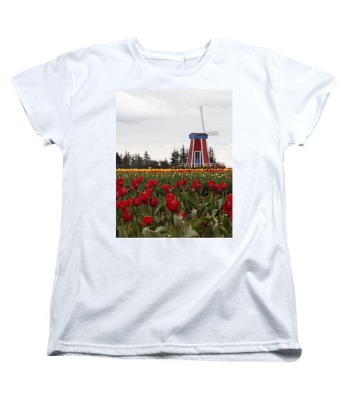 Women's T-Shirt (Standard Cut) featuring the photograph Windmill Red Tulips by Athena Mckinzie