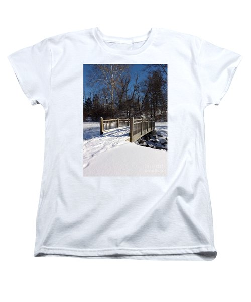 Winter At Creekside Women's T-Shirt (Standard Cut) by Sara  Raber