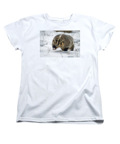 Women's T-Shirt (Standard Cut) featuring the photograph Winter Badger by Jack Bell