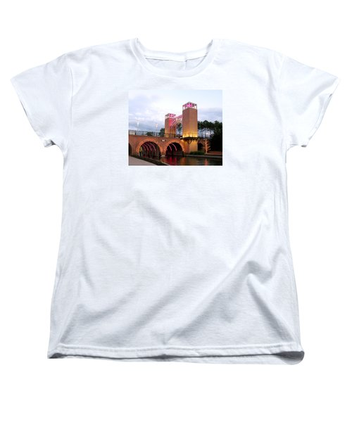 Women's T-Shirt (Standard Cut) featuring the photograph Winter Evening Lights On The Woodlands Waterway by Connie Fox