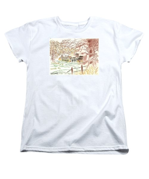 Winter In The Village Women's T-Shirt (Standard Cut) by Tracey Williams