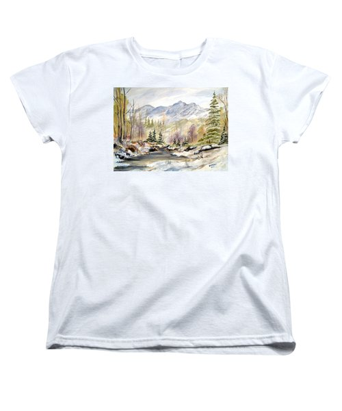 Women's T-Shirt (Standard Cut) featuring the painting Winter On The River by Dorothy Maier