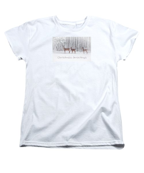 Winter Visits Card Women's T-Shirt (Standard Cut) by Karol Livote