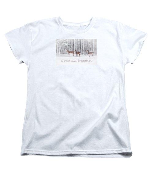 Winter Visits Card Women's T-Shirt (Standard Cut)