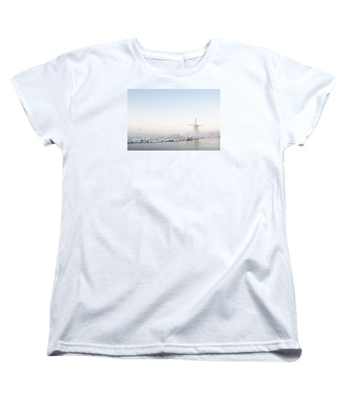Winter Windmill Landscape In Holland Women's T-Shirt (Standard Cut) by IPics Photography