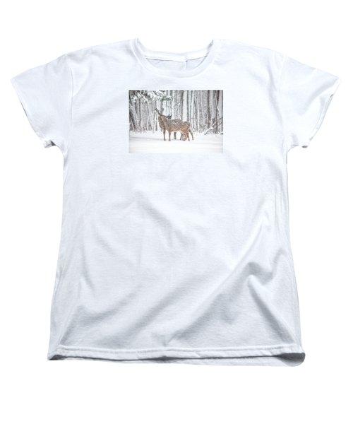 Winters Love Women's T-Shirt (Standard Cut) by Karol Livote