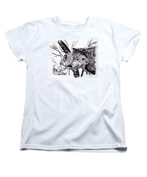 Women's T-Shirt (Standard Cut) featuring the drawing Wolves by Mayhem Mediums
