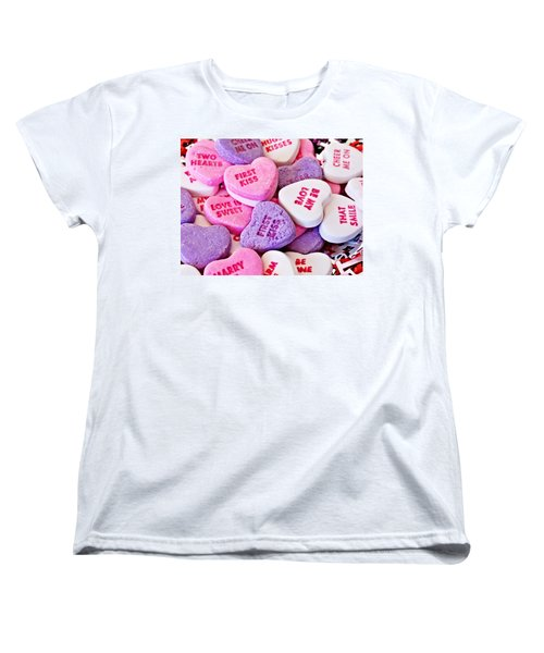 Women's T-Shirt (Standard Cut) featuring the photograph Valentine Candy Hearts by Vizual Studio
