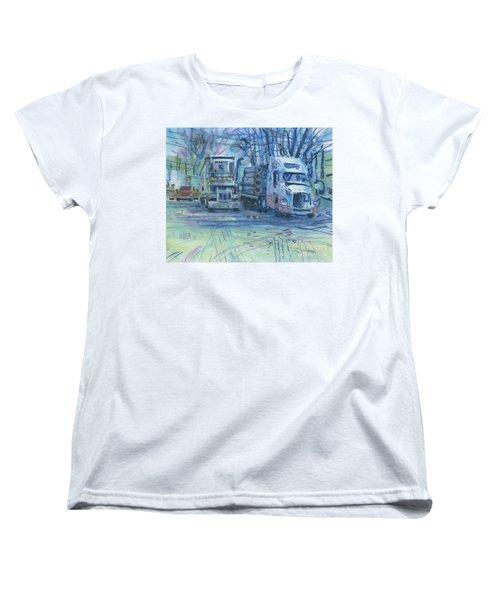 Women's T-Shirt (Standard Cut) featuring the painting Work Buddies by Donald Maier