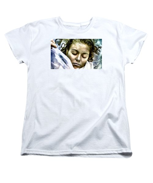 Women's T-Shirt (Standard Cut) featuring the painting Wrapped In Plastic by Luis Ludzska