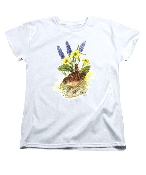 Wren In Primroses  Women's T-Shirt (Standard Cut) by Nell Hill