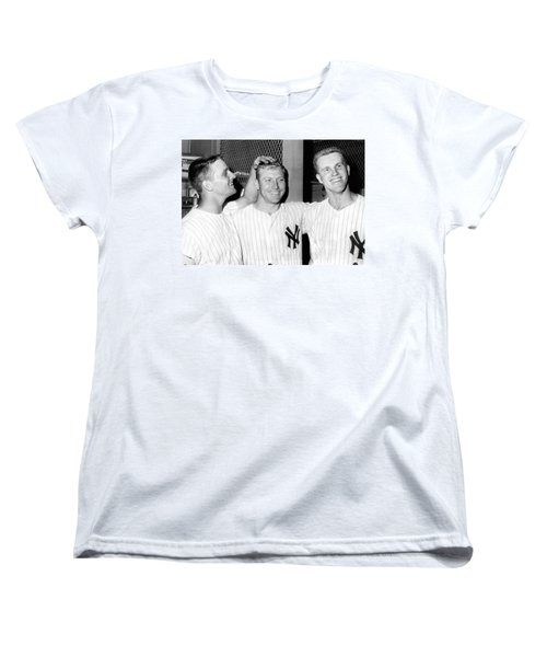 Yankees Celebrate Victory Women's T-Shirt (Standard Cut) by Underwood Archives