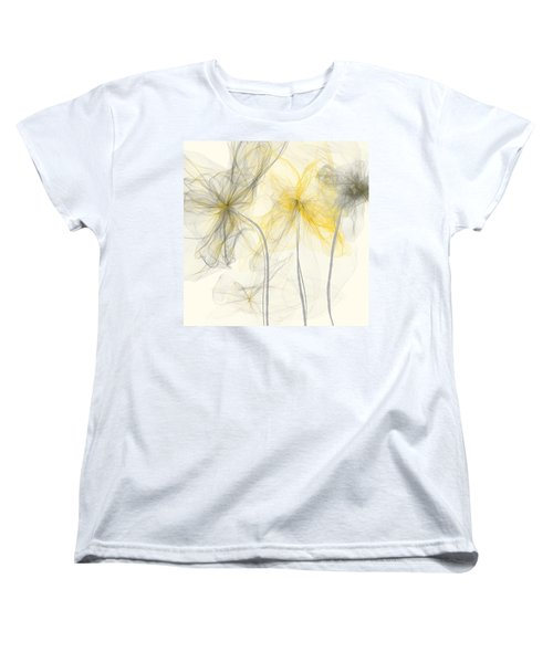 Yellow And Gray Flowers Impressionist Women's T-Shirt (Standard Cut) by Lourry Legarde