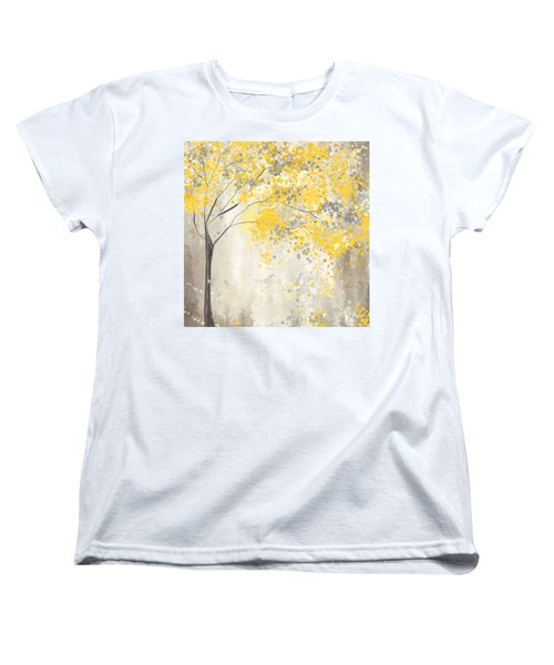 Yellow And Gray Tree Women's T-Shirt (Standard Cut) by Lourry Legarde