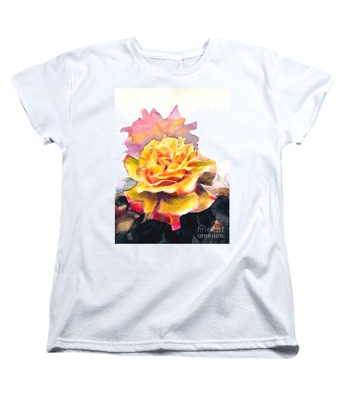 Women's T-Shirt (Standard Cut) featuring the painting Yellow Rose Fringed In Red by Greta Corens