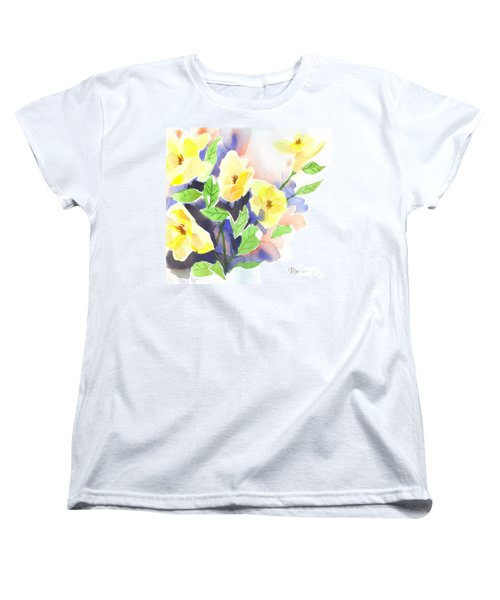 Women's T-Shirt (Standard Cut) featuring the painting Yellow Magnolias by Kip DeVore