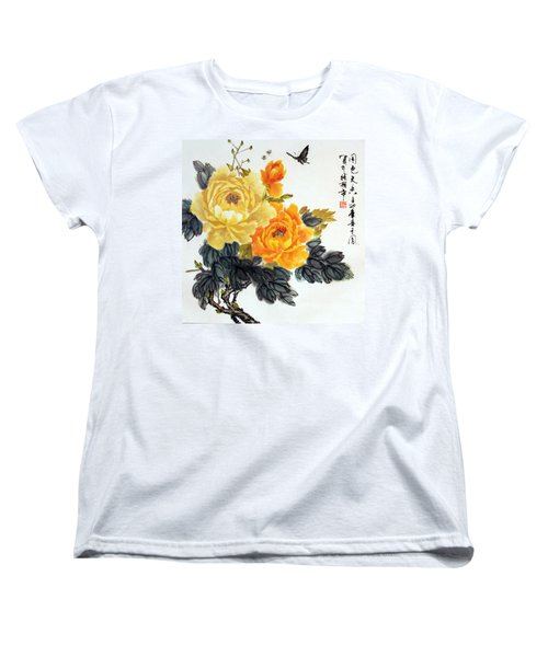 Yellow Peonies Women's T-Shirt (Standard Cut) by Yufeng Wang