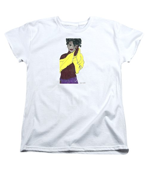 Women's T-Shirt (Standard Cut) featuring the drawing Yellow Sweater Model by Don Koester