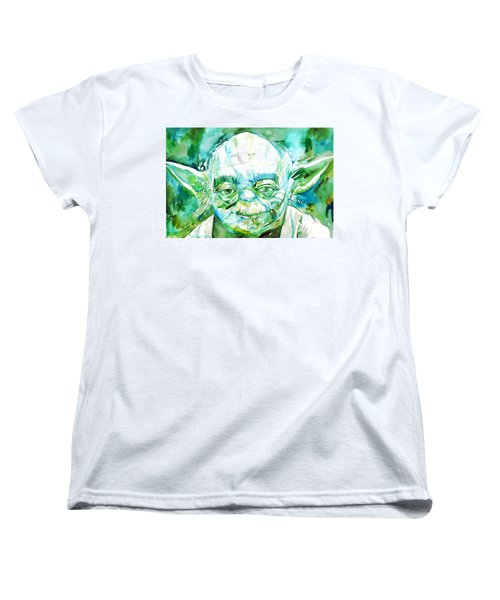 Yoda Watercolor Portrait Women's T-Shirt (Standard Cut)