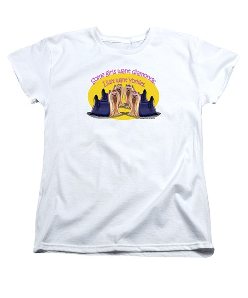 Yorkies Are A Girls Best Friends Women's T-Shirt (Standard Cut) by Catia Cho
