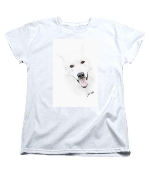 Women's T-Shirt (Standard Cut) featuring the digital art Young Wolf by Erika Weber