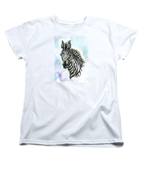 Women's T-Shirt (Standard Cut) featuring the painting Zebra 1 by Mary Armstrong