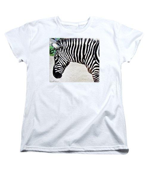 Women's T-Shirt (Standard Cut) featuring the photograph Zebra Alcohol Inks  by Danielle  Parent