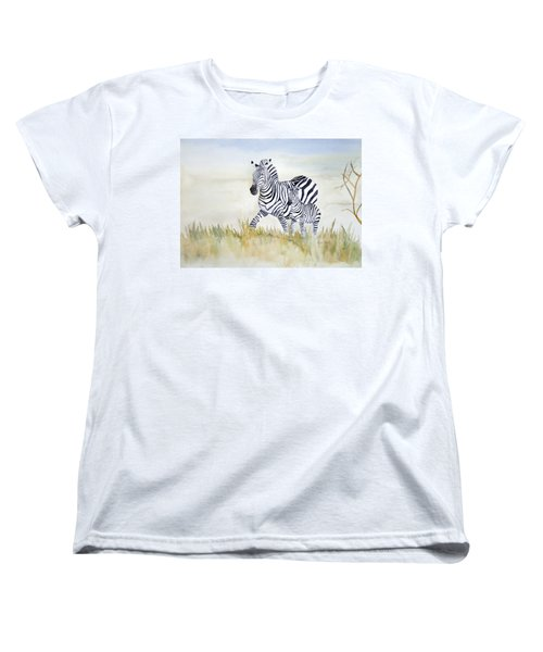 Zebra Family Women's T-Shirt (Standard Cut) by Laurel Best