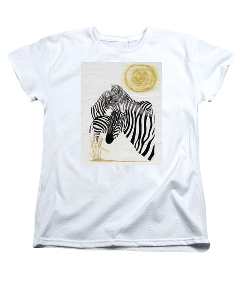 Zebra Quintet Women's T-Shirt (Standard Cut) by Stephanie Grant