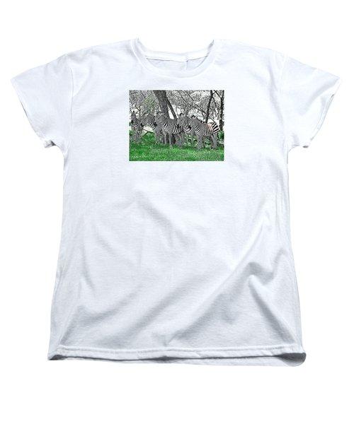Women's T-Shirt (Standard Cut) featuring the photograph Zebras by Kathy Churchman