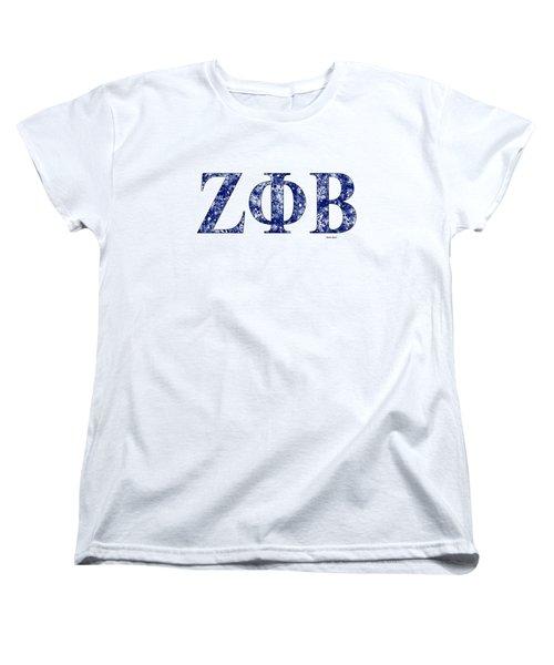 Women's T-Shirt (Standard Cut) featuring the digital art Zeta Phi Beta - White by Stephen Younts
