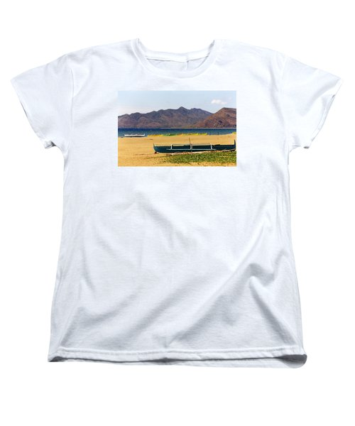 Boats On South China Sea Beach Women's T-Shirt (Standard Cut) by Amelia Racca