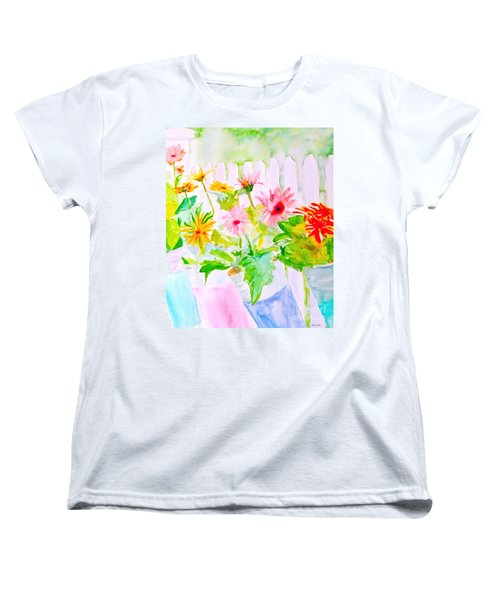 Women's T-Shirt (Standard Cut) featuring the painting Daisy Daisy by Beth Saffer