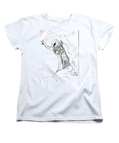 Women's T-Shirt (Standard Cut) featuring the drawing Dinka Dance - South Sudan by Gloria Ssali