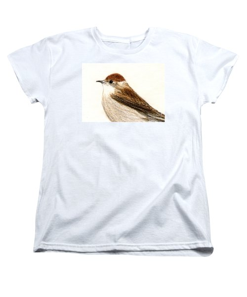 Women's T-Shirt (Standard Cut) featuring the drawing Female Blackcap  by Barbara Moignard