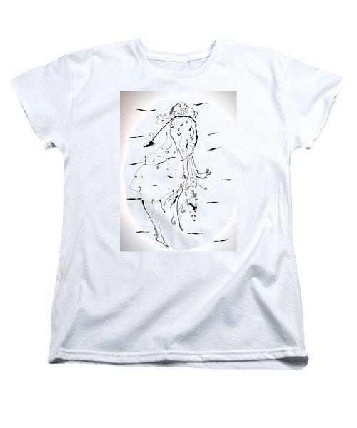 Women's T-Shirt (Standard Cut) featuring the drawing Malipenga Dance - Malawi by Gloria Ssali