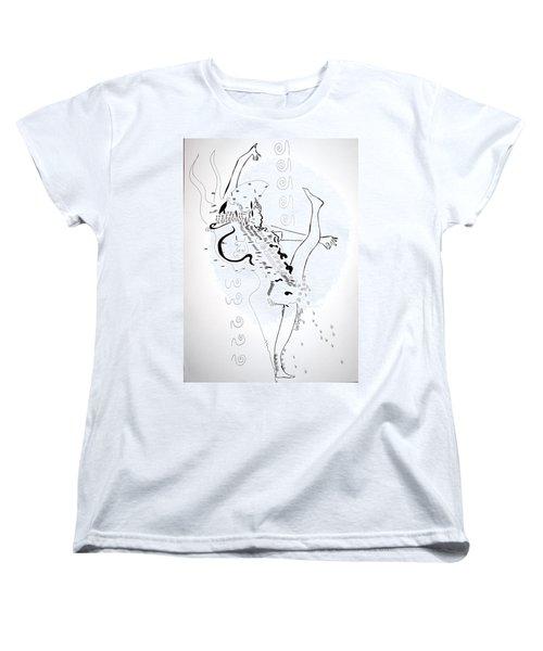 Women's T-Shirt (Standard Cut) featuring the drawing Zulu Dance - South Africa by Gloria Ssali