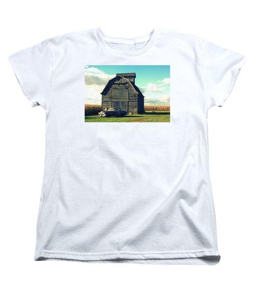 1950 Cadillac Barn Cornfield Women's T-Shirt (Standard Cut) by Lyle Hatch