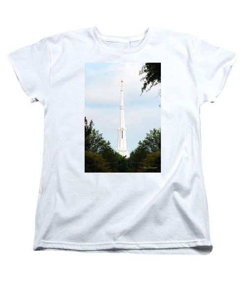 Women's T-Shirt (Standard Cut) featuring the photograph 1st Christian Steeple by Kay Lovingood